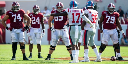 Alabama offensive lineman Jedrick Wills, Jr., (74), running back Brian Robinson, Jr., (24), offensive lineman Landon Dickerson (69) and offensive lineman Chris Owens (79) lineup against Ole Miss at Bryant-Denny Stadium in Tuscaloosa, Ala., on Saturday September 28, 2019.