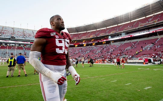 Alabama defensive lineman Raekwon Davis (99) walks off of the field after the win over Ole Miss at Bryant-Denny Stadium in Tuscaloosa, Ala., on Saturday September 28, 2019.