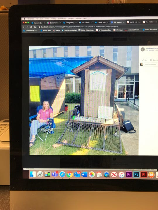 This photo of a social media post shows Lisa Pierce of Alabama Rural Ministry staying in a small shack outside Auburn United Methodist Church as part of an awareness program.