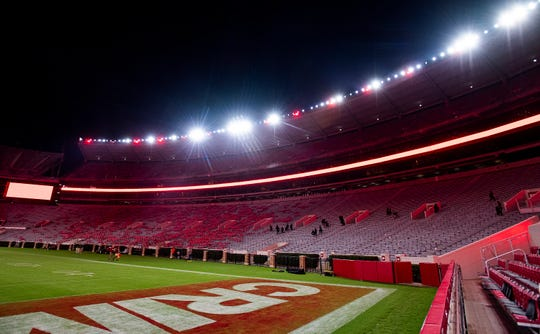 The new lights at Bryant-Denny Stadium in Tuscaloosa, Ala., as seen on Saturday September 28, 2019.