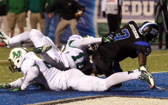 MTSU receiver Tavarres Jefferson makes the game-winning catch as time runs out in the 2013 meeting.