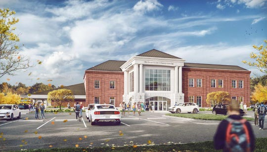 A rendering shows the design for the future Entrepreneurial Leadership Center at Battle Ground Academy in Franklin, Tenn.