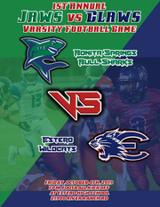 The promotion for the first-ever varsity football game between Bonita Springs and Estero included this flyer and t-shirts developed by the Bonita Springs High School graphic design students.