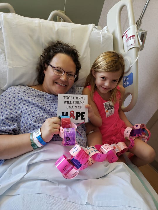 With Audrey in the hospital before my hysterectomy with a chain of hope from her class.