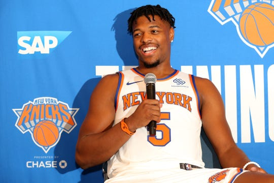 Sep 30, 2019; New York, NY, USA; New York Knicks point guard Dennis Smith Jr. (5) speaks to the media during media day at the MSG training center in Greenburgh, NY. Mandatory Credit: Brad Penner-USA TODAY Sports