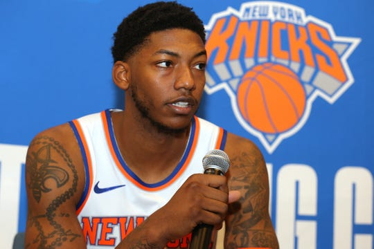 Sep 30, 2019; New York, NY, USA; New York Knicks point guard Elfrid Payton (6) speaks to the media during media day at the MSG training center in Greenburgh, NY. Mandatory Credit: Brad Penner-USA TODAY Sports