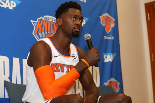 Sep 30, 2019; New York, NY, USA; New York Knicks power forward Bobby Portis (1) speaks to the media during media day at the MSG training center in Greenburgh, NY. Mandatory Credit: Brad Penner-USA TODAY Sports