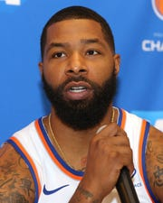 Sep 30, 2019; New York, NY, USA; New York Knicks power forward Marcus Morris (13) speaks to the media during media day at the MSG training center in Greenburgh, NY. Mandatory Credit: Brad Penner-USA TODAY Sports