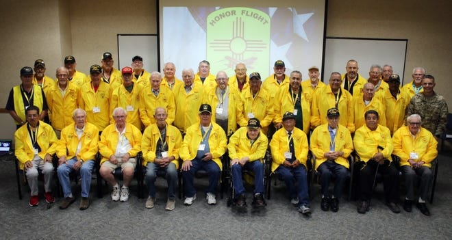Honor Flight Mission 13 Veterans, with White Sands Missile Range Col. Justin W. Brown.