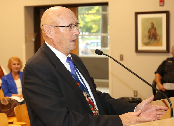 Dr. Gerry Washburn, Carlsbad Municipal Schools superintendent, speaks before the Carlsbad City Council Sept. 24.