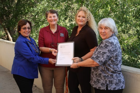 "From left: Cathy Aguilar-Morgan, Joyce Hill, Angela Cunningham and Anne Ricksecker at NMSU-A. Cunningham is one of the first assistant teachers in Alamogordo to receive a teacher certification through a new state scholarship program called ""Grown Your Own""."