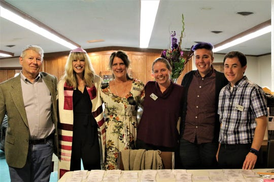 From left: Merv Bergal, one of the founders, and current board members of Congregation Har Shalom, with Spiritual Leader Lisa Smith, Lisa Deskins, Naomi Azulai, Kain Eggler, and Elliot Brechner, at Rosh Hashanah  services in Durango.