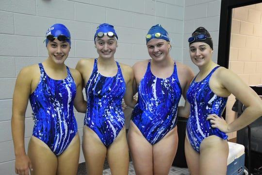 South Lyon's 200 Medley team is made up of Nicole Hanshaw, Megan Sartori, Kendra Ebel and Sierra Newton.