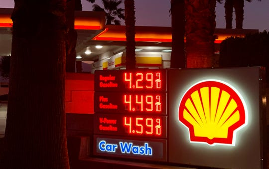 Gas prices Sunday evening at a Palm Springs Shell station, located at the corner of Ramon Road and Gene Autry Trail.