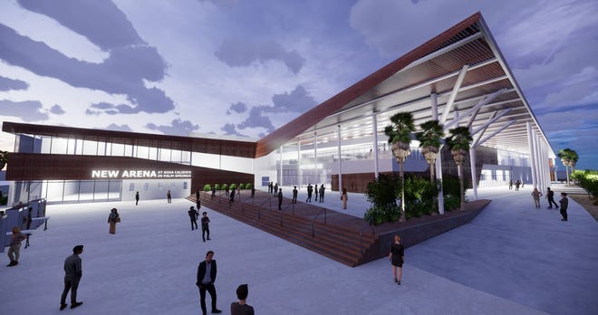 A rendering of the upcoming downtown Palm Springs AHL hockey arena due to open in 2021.