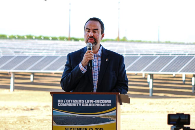 Erik Ortega, Imperial Irrigation District board president, speaks Sept. 25 during the commissioning of the IID Citizens community solar project north of Calipatria.