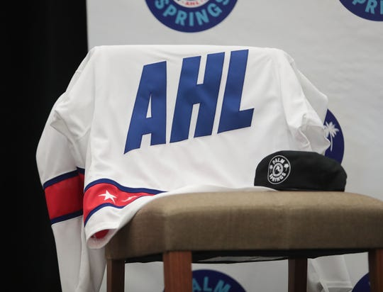 An AHL jersey at the Palm Springs hockey team press conference, September 30, 2019.