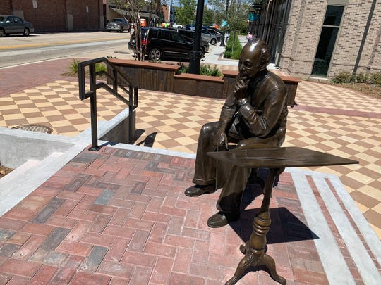 A bronze stool was stolen from Southtowne Plaza over the weekend, where it was part of an installation honoring the late J. Earle Bowden. The stool has since been recovered.