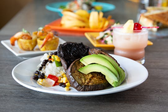 Vegetarian options at Little Cay include Berenadas, or grilled eggplant with sweet citrus chili.