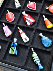 "These handmade fused glass pendants, called ""Bendants,"" will be available for purchase at the Oct. 5 Fremont Farmers Market."