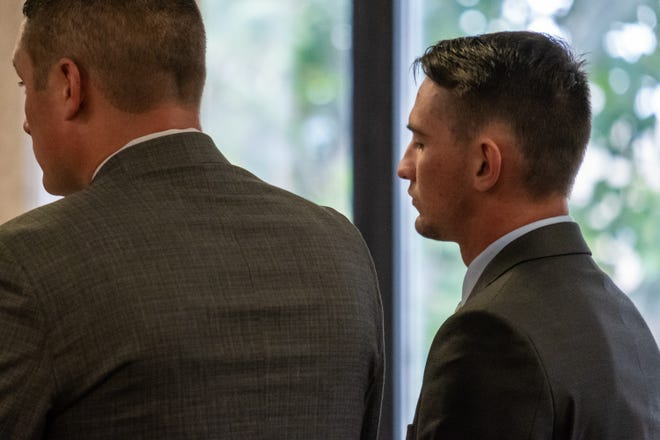 Matthew Joseph Zweng, right, stands at the podium next to his attorney Michael Mitchell during a plea hearing Monday, Sept. 30, 2019, in St. Clair County Circuit Court Judge Michael West's courtroom. Zweng is being charged with reckless driving causing death in connection to a fatal crash Jan. 1 that left Emily Knox, 18, of Port Huron Township, dead.