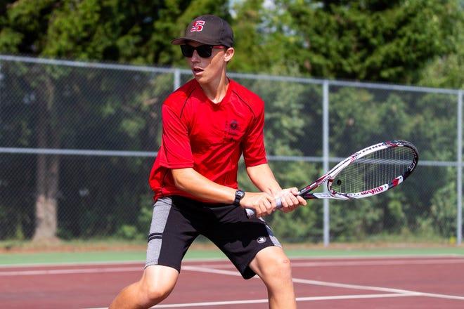 Sandusky boys tennis player Jonathan Wentzel prepares to swing during a recent match.