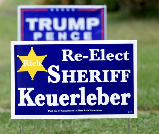 Campaign signs for Richard Keuerleber and the presidential race line populate a lawn at a residence in Hallam Borough Monday, Sept. 30, 2019. Bill Kalina photo