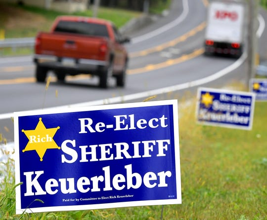 Campaign signs for Richard Keuerleber line Route 462 in Hellam Township Monday, Sept. 30, 2019. Bill Kalina photo
