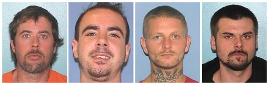 This combination of undated images provided by the Gallia County Sheriff's Office shows from left to right, Brynn Martin, Christopher Clemente, Troy McDaniel Jr. and Lawrence Lee III. The Gallia County Sheriff's Office said the four inmates overpowered two corrections officers with a homemade weapon and escaped from the Gallia County Jail, in Gallipolis, Ohio, on Sunday, Sept. 29, 2019. A sheriff's release said the inmates had help from at least one person outside the jail. Authorities say the inmates should be considered dangerous. (Gallia County Sheriff's Office via AP)