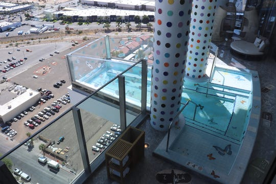The pool of the Empathy Suite is only 2 feet, 4 inches deep, but a seat there offers one of the best views of Las Vegas.