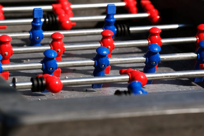 A state grant helped pay for a handful of new gaming stations at Elstro Plaza in Richmond, including this foosball table.