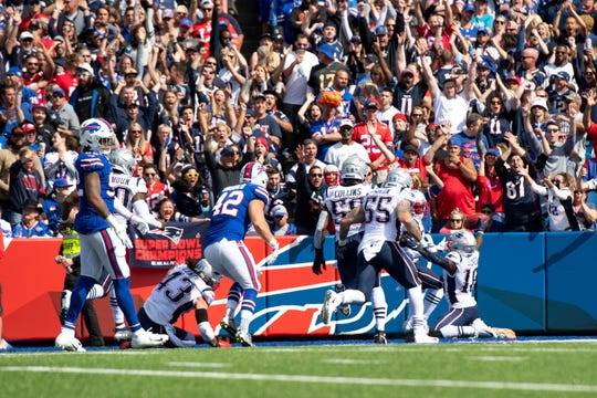New England Patriots wide receiver Matthew Slater (18) scores a touchdown on a blocked kicked during the first quarter against the Buffalo Bills.