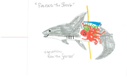 Madeline Harris of the family adopting Ramses the Shark at Salem's Riverfront Carousel provided drawings of what she envisioned for the figure.