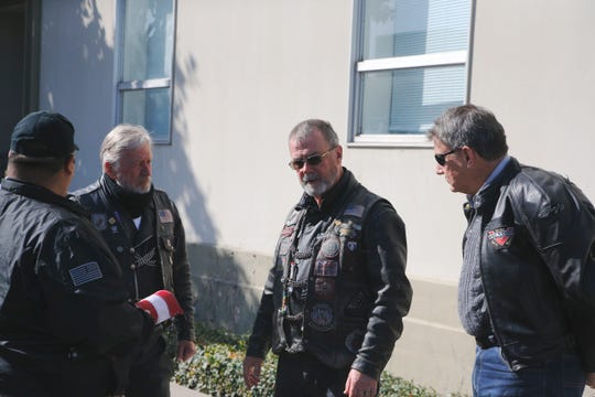 "From left: Rick Phinney, Hiram ""Crash"" Libby and John Kristian discuss their Patriot Guard escort of the ashes of a WWI veteran to San Francisco, where he will be interred alongside his wife. His ashes were discovered in a closet at a Salinas attorney's office recently."