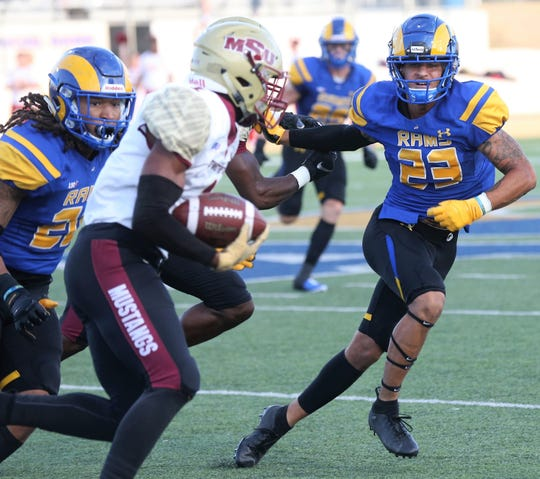 Angelo State University's Donavyn Jackson (left) and Devin Washington helped the Rams upset No. 15 Midwestern State University 28-6 in a Lone Star Conference game at LeGrand Stadium at 1st Community Credit Union Field Saturday, Sept. 28, 2019.