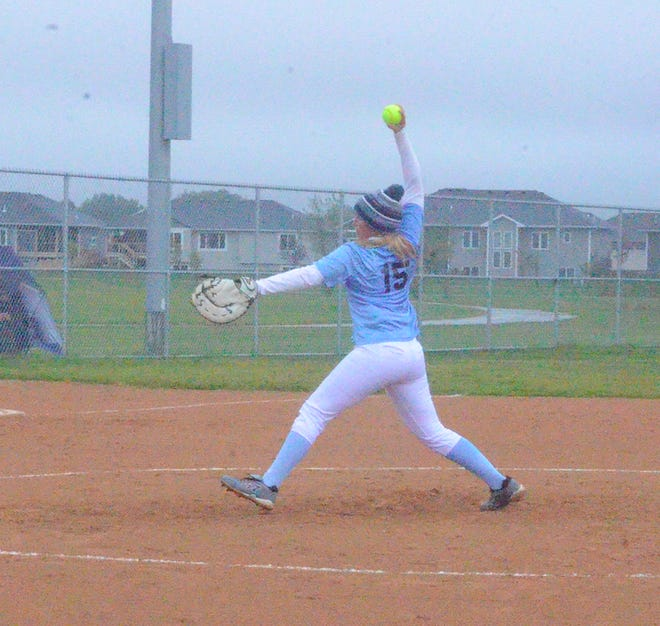 Cora Alderson of Dell Rapids pitches against Tea on Sunday, Sept. 29.
