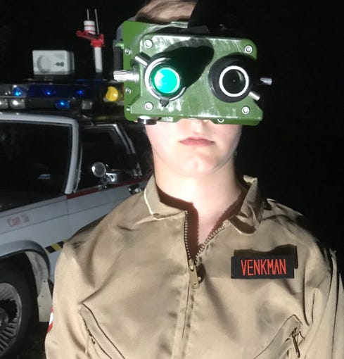 Cori King, 11, of Bruner, wears her ecto-googles, which supposedly allow her to see ghosts unseen with the naked eye. In the movies, actor Bill Murray plays Peter Venkman.