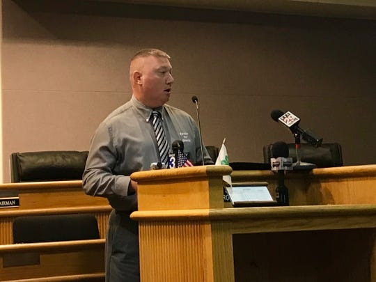 Neil Kester speaks to the press at the Augusta County Government Center on Sept. 30, 2019. Kester is the Republican nominee for Augusta County Sheriff.