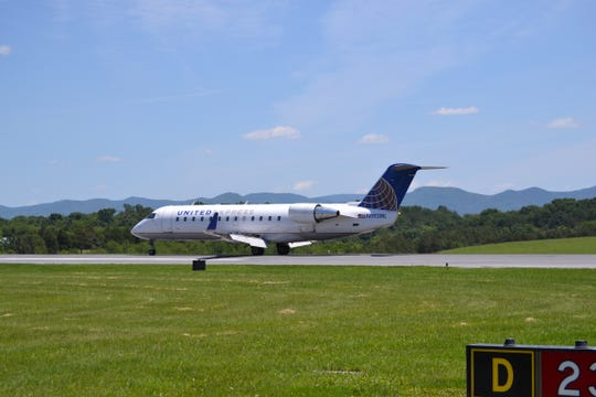 A United Express plane at Shenandoah Valley Regional Airport.