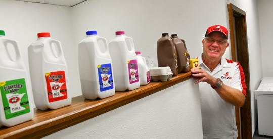 Dairy2U owner Brad Hagfors stands next to Stony Creek Dairy products available through the new service Monday, Sept. 30, 2019, in St. Cloud.
