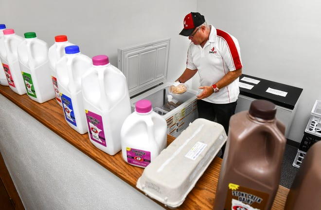 Dairy2U owner Brad Hagfors talks about products available through the new service Monday, Sept. 30, 2019, in St. Cloud.
