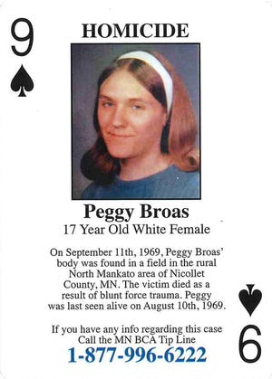 A playing card distributed by the BCA highlights the unsolved murder of Peggy Broas in 1969.