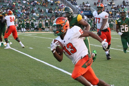 FAMU running back Bishop Bonnett had 20 carries for 109 yards in the 30-28 win over Norfolk State on Saturday, Sept. 28, 2019.