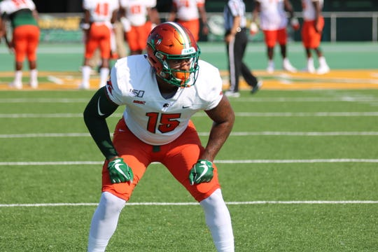 FAMU linebacker Elijah Richardson goes through pregame drills versus Norfolk State on Saturday, Sept. 28, 2019.