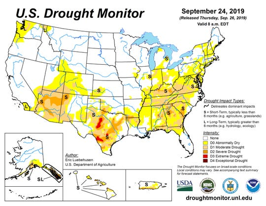 U.S. drought conditions as of Sept. 24, 2019.