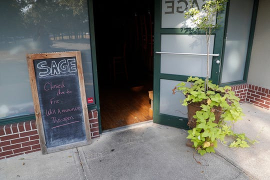 After a fire on Saturday, Sage, a restaurant on Maclay Boulevard, has temporarily closed.