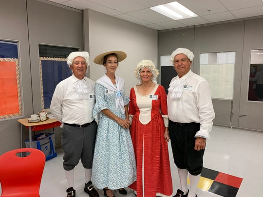 "Cast members of  ""A Constitution Day"" play, from left, John Evans, Janel Cohen, Vicki Sacco and Bob Sacco."