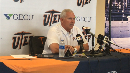 Dana Dimel discusses UTSA at his weekly press conference Monday.
