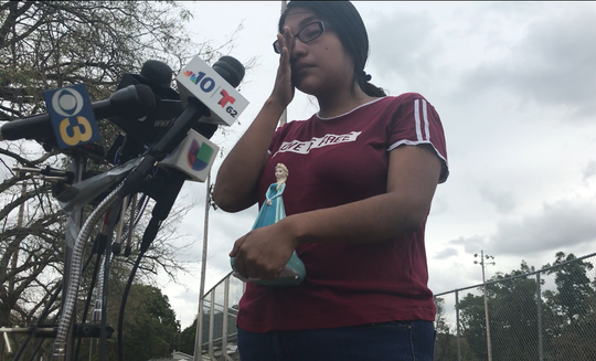 Noema Alavez Perez wipes a tear while talking about the search for her missing 5-year-old daughter, Dulce Maria. The mother met with media Monday morning near the Bridgeton playground where her daughter was last seen on Sept. 16.