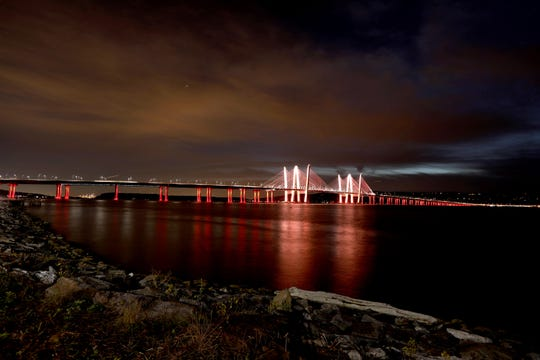 The Gov. Mario M. Cuomo Bridge is lit in gold Sept. 29, 2019 in honor of Gold  Star Families. Gold Star families are those who have lost a loved one who served during a time of conflict.